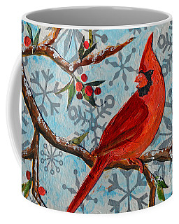 Coffee Mug featuring the mixed media Christmas Cardinal by Li Newton