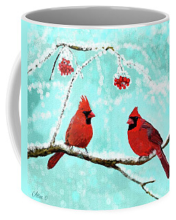 Coffee Mug featuring the painting Christmas Cardinals by Leslie Allen