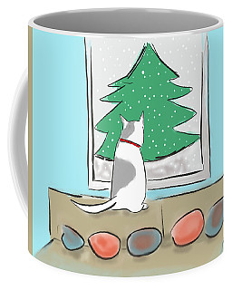 Coffee Mug featuring the digital art Christmas Cat by Haleh Mahbod