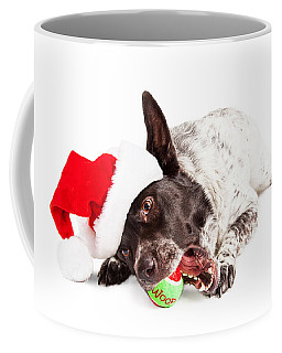 Christmas Dog Chewing On Tennis Ball Coffee Mug