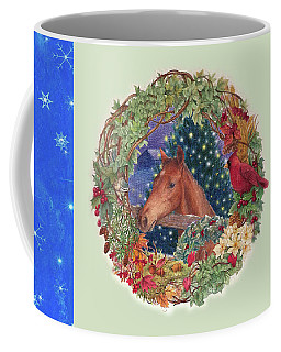 Coffee Mug featuring the painting Christmas Horse And Holiday Wreath by Judith Cheng