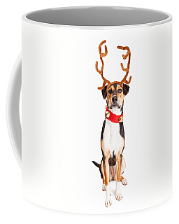 Christmas Reindeer Dog Tall Banner Coffee Mug