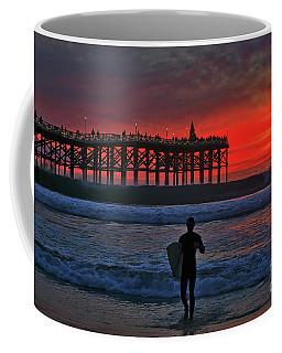 Christmas Surfer Sunset Coffee Mug