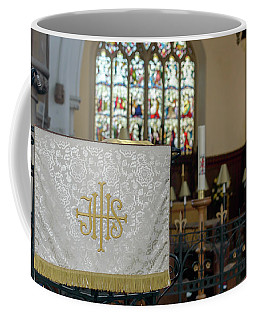 Coffee Mug featuring the photograph Christogram Ihs On Pulpit Cloth In Gothic English Church by Jacek Wojnarowski