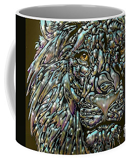 Coffee Mug featuring the digital art Chrome Lion by Darren Cannell