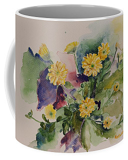Chrysanthemum Flowers Still Life In Watercolor Coffee Mug