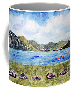 Coffee Mug featuring the painting Chrystal Lake  Barton Vt  by Donna Walsh