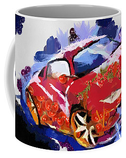 Coffee Mug featuring the painting Chubby Car Red by Catherine Lott