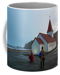 Coffee Mug featuring the photograph Church Above Reynisfjara Black Sand Beach, Iceland by Dubi Roman