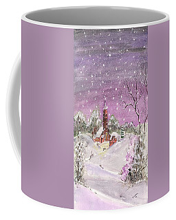 Coffee Mug featuring the digital art Church In The Snow by Darren Cannell