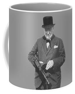Churchill Posing With A Tommy Gun Coffee Mug