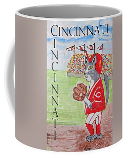 Coffee Mug featuring the painting Cinci Reds Cat by Diane Pape
