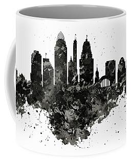 Coffee Mug featuring the mixed media Cincinnati Skyline Black And White by Marian Voicu