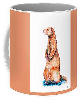 Coffee Mug featuring the painting Cinnamon Ferret by Zaira Dzhaubaeva