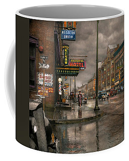 City - Amsterdam Ny -  Call 666 For Taxi 1941 Coffee Mug by Mike Savad