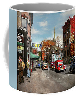 Coffee Mug featuring the photograph City - Amsterdam Ny - Downtown Amsterdam 1941 by Mike Savad