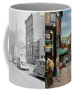 City - Amsterdam Ny - Downtown Amsterdam 1941- Side By Side Coffee Mug by Mike Savad