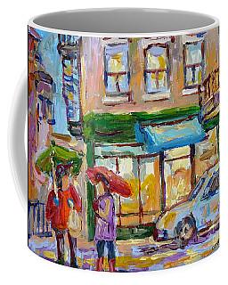 City In The Rain Late Afternoon At Bakery Rue St Viateur Montreal Canadian Art Carole Spandau        Coffee Mug