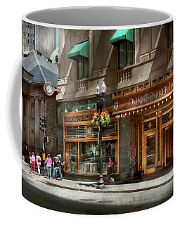 Coffee Mug featuring the photograph City - Ma Boston - Meet Me At The Omni Parker Clock by Mike Savad