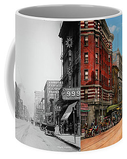 Coffee Mug featuring the photograph City - Memphis Tn - Main Street Mall 1909 - Side By Side by Mike Savad