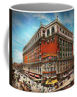 Coffee Mug featuring the photograph City - Ny New York - The Nation's Largest Dept Store 1908 by Mike Savad