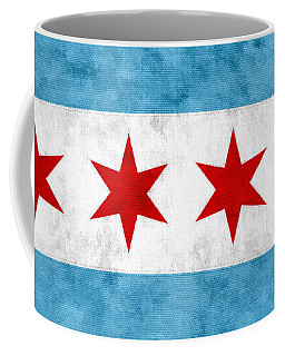 Coffee Mug featuring the mixed media City Of Chicago Flag by Christopher Arndt