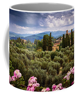 Tuscan Landscape With Roses And Mountains In Florence, Italy Coffee Mug