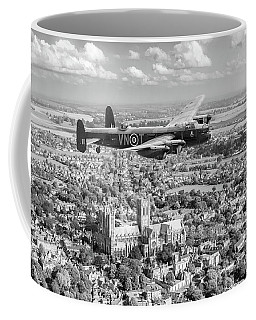 Coffee Mug featuring the photograph City Of Lincoln Vn-t Over The City Of Lincoln Bw Version by Gary Eason