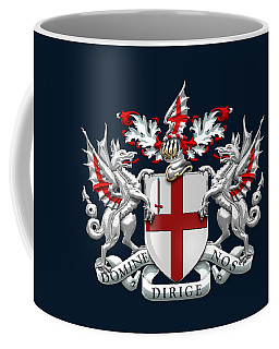 City Of London - Coat Of Arms Over Blue Leather  Coffee Mug