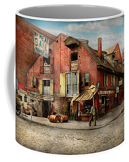 Coffee Mug featuring the photograph City - Pa - Fish And Provisions 1898 by Mike Savad