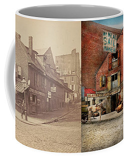 Coffee Mug featuring the photograph City - Pa - Fish And Provisions 1898 - Side By Side by Mike Savad