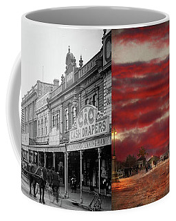 Coffee Mug featuring the photograph City - Palmerston North Nz - The Shopping District 1908 - Side By Side by Mike Savad
