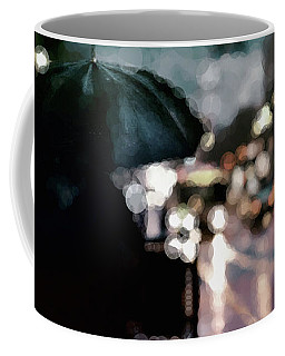 Coffee Mug featuring the mixed media City Rain by Susan Maxwell Schmidt