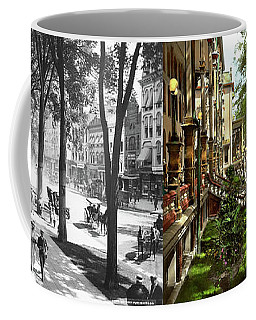 Coffee Mug featuring the photograph City - Saratoga Ny -  I Would Love To Be On Broadway 1915 - Side By Side by Mike Savad