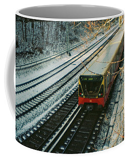 City Train In Berlin Under The Snow Coffee Mug