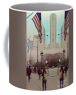 Cityscape With A Bit Of Fog Coffee Mug by Kathie Chicoine