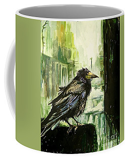 Cityscape With A Crow Coffee Mug