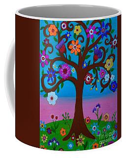 Coffee Mug featuring the painting Cj's Tree by Pristine Cartera Turkus