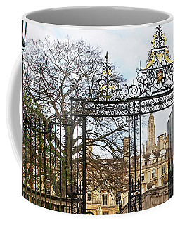 Coffee Mug featuring the photograph Clare College Gate Cambridge by Gill Billington