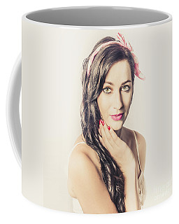 Coffee Mug featuring the photograph Classic Old Style Pin-up Girl by Jorgo Photography - Wall Art Gallery
