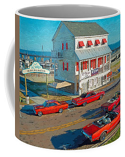 Classic Red Cars Bay St. Louis Boat Harbor Coffee Mug by Rebecca Korpita