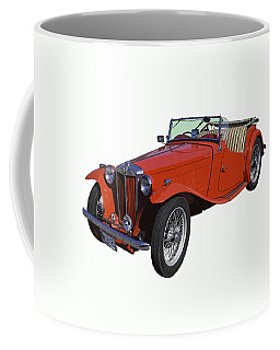 Classic Red Mg Tc Convertible British Sports Car Coffee Mug