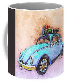 Classic Road Trip Ride Watercolour Sketch Coffee Mug