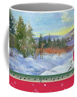 Coffee Mug featuring the painting Classic Winterscape With Cardinal And Reindeer by Judith Cheng