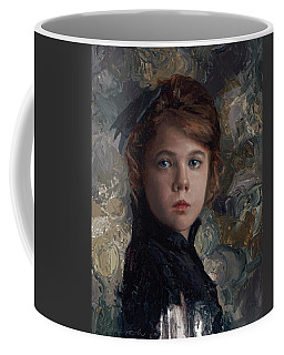 Coffee Mug featuring the painting Classical Portrait Of Young Girl In Victorian Dress by Karen Whitworth