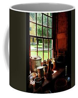 Coffee Mug featuring the photograph Clay Jars On Windowsill by Susan Savad