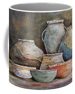 Coffee Mug featuring the painting Clay Pottery Still Lifes-a by Jean Plout