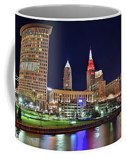 Coffee Mug featuring the photograph Cle Over The Cuyahoga by Frozen in Time Fine Art Photography