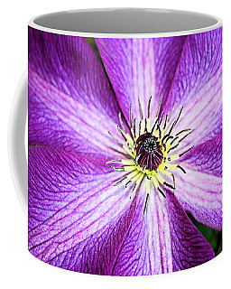Coffee Mug featuring the photograph Clematis Close Up by Kristin Elmquist