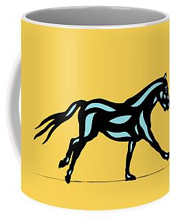 Clementine - Pop Art Horse - Black, Island Paradise Blue, Primrose Yellow Coffee Mug